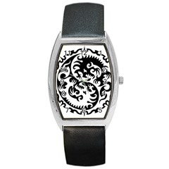 Ying Yang Tattoo Barrel Style Metal Watch