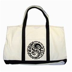 Ying Yang Tattoo Two Tone Tote Bag