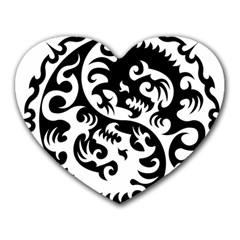 Ying Yang Tattoo Heart Mousepads