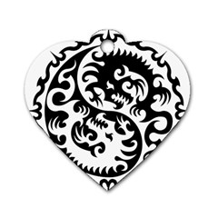 Ying Yang Tattoo Dog Tag Heart (two Sides)