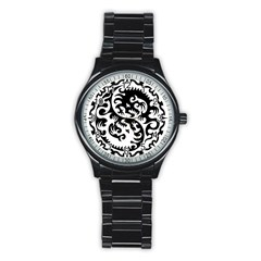 Ying Yang Tattoo Stainless Steel Round Watch