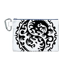 Ying Yang Tattoo Canvas Cosmetic Bag (m)