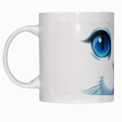 Cute White Cat Blue Eyes Face White Mugs