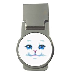 Cute White Cat Blue Eyes Face Money Clips (round)