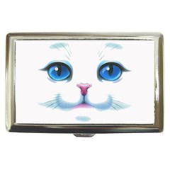 Cute White Cat Blue Eyes Face Cigarette Money Cases
