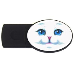 Cute White Cat Blue Eyes Face Usb Flash Drive Oval (4 Gb)