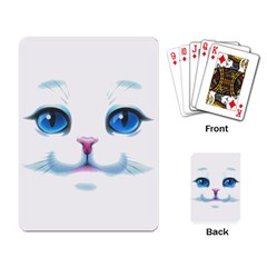 Cute White Cat Blue Eyes Face Playing Card