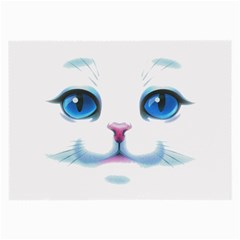 Cute White Cat Blue Eyes Face Large Glasses Cloth