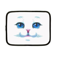 Cute White Cat Blue Eyes Face Netbook Case (small)