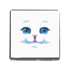 Cute White Cat Blue Eyes Face Memory Card Reader (square)