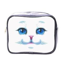 Cute White Cat Blue Eyes Face Mini Toiletries Bags
