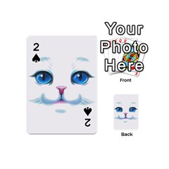 Cute White Cat Blue Eyes Face Playing Cards 54 (mini)