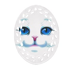 Cute White Cat Blue Eyes Face Oval Filigree Ornament (two Sides)