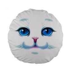 Cute White Cat Blue Eyes Face Standard 15  Premium Round Cushions