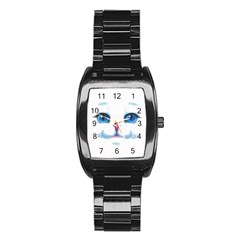Cute White Cat Blue Eyes Face Stainless Steel Barrel Watch