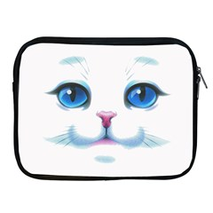 Cute White Cat Blue Eyes Face Apple Ipad 2/3/4 Zipper Cases