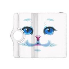 Cute White Cat Blue Eyes Face Kindle Fire Hdx 8 9  Flip 360 Case