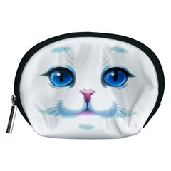 Cute White Cat Blue Eyes Face Accessory Pouches (medium)