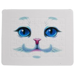 Cute White Cat Blue Eyes Face Jigsaw Puzzle Photo Stand (rectangular)