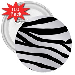 White Tiger Skin 3  Buttons (100 Pack)