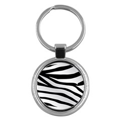 White Tiger Skin Key Chains (round)