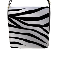 White Tiger Skin Flap Messenger Bag (l)