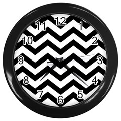Black And White Chevron Wall Clocks (black)