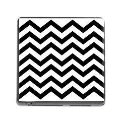 Black And White Chevron Memory Card Reader (square)