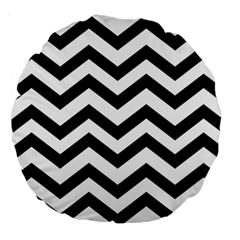 Black And White Chevron Large 18  Premium Round Cushions