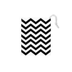 Black And White Chevron Drawstring Pouches (xs)