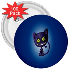 Funny Cute Cat 3  Buttons (100 Pack)
