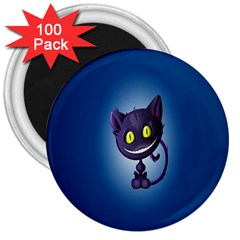 Funny Cute Cat 3  Magnets (100 Pack)