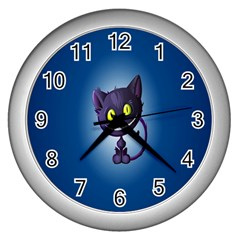 Funny Cute Cat Wall Clocks (silver)