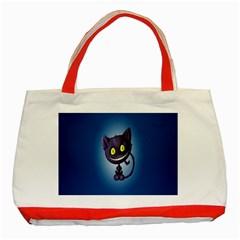 Funny Cute Cat Classic Tote Bag (red)
