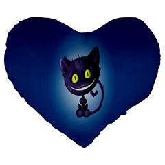 Funny Cute Cat Large 19  Premium Heart Shape Cushions