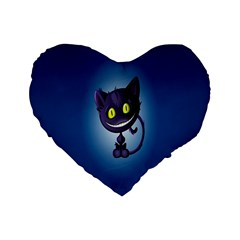 Funny Cute Cat Standard 16  Premium Flano Heart Shape Cushions