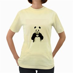 Panda Love Heart Women s Yellow T Shirt