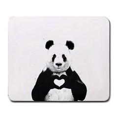 Panda Love Heart Large Mousepads