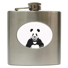 Panda Love Heart Hip Flask (6 Oz)