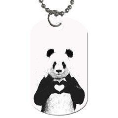 Panda Love Heart Dog Tag (two Sides)