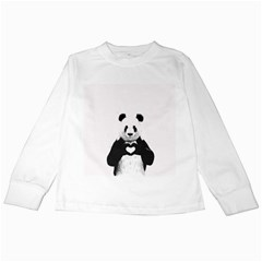 Panda Love Heart Kids Long Sleeve T Shirts