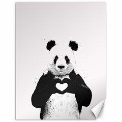Panda Love Heart Canvas 18  X 24