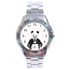 Panda Love Heart Stainless Steel Analogue Watch