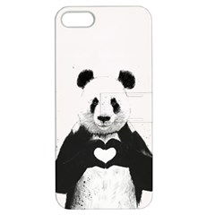 Panda Love Heart Apple Iphone 5 Hardshell Case With Stand