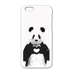 Panda Love Heart Apple Iphone 6/6s White Enamel Case