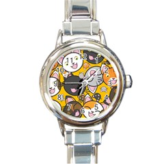 Cats Cute Kitty Kitties Kitten Round Italian Charm Watch