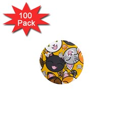 Cats Cute Kitty Kitties Kitten 1  Mini Magnets (100 Pack)