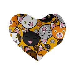 Cats Cute Kitty Kitties Kitten Standard 16  Premium Heart Shape Cushions