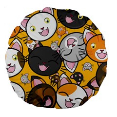 Cats Cute Kitty Kitties Kitten Large 18  Premium Flano Round Cushions