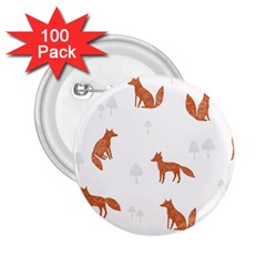 Fox Animal Wild Pattern 2 25  Buttons (100 Pack)